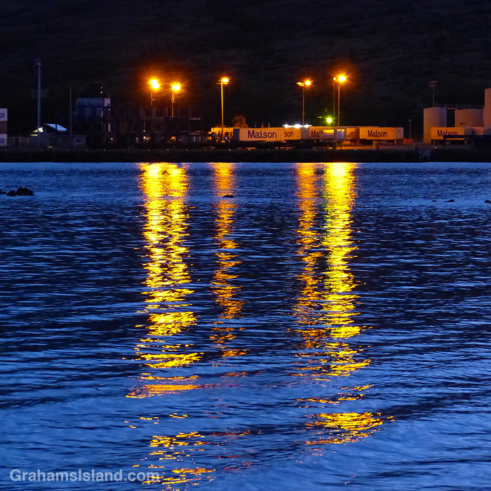 Early morning lights at the port of Kawaihae, Hawaii