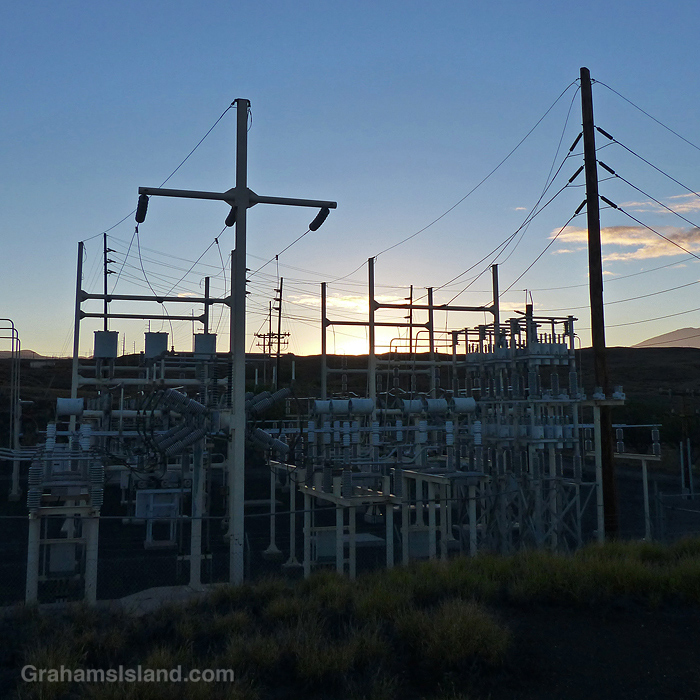An electric substation around sunrise in Hawaii